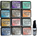 Ranger Tim Holtz Distress Oxide Stamp Pad Bundle With Vinyl Storage Bag And Spray Mister