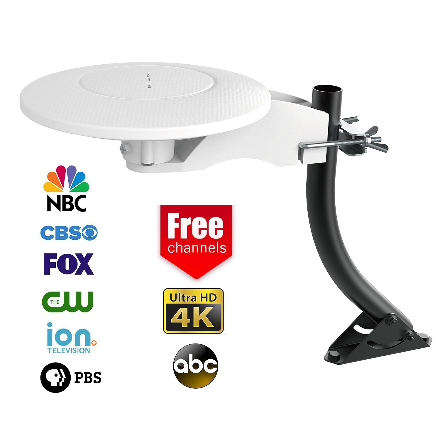 Elecwave 70 Miles Digital HDTV Antenna 360 Degree Omni-directional Reception Outdoor/Indoor Amplified Antenna with 33 FT High Performance Coax Cable, White