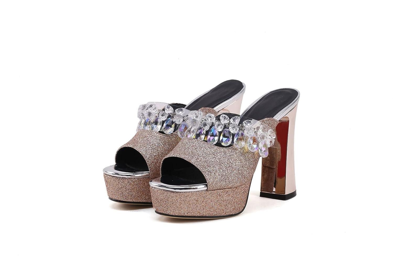 Sandales pour pour Femmes, Talons Hauts, Hauts, Sandales Pantoufles Or 7315ee7 - shopssong.space
