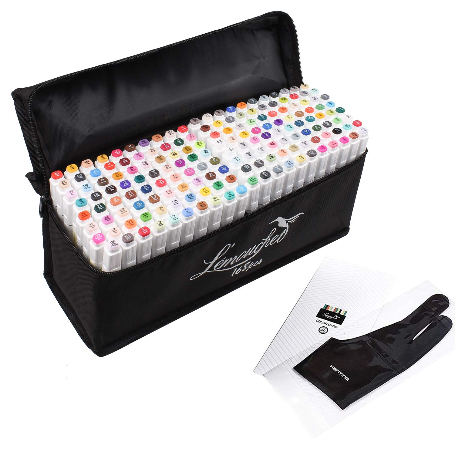 L/émouchet 168+2 Colours Dual Tips Art Marker Pens Colouring Markers Paint Pens for Kids /& Adults Painting Drawing Twin Marker Pens Set with Carrying Case for Sketch Graphic