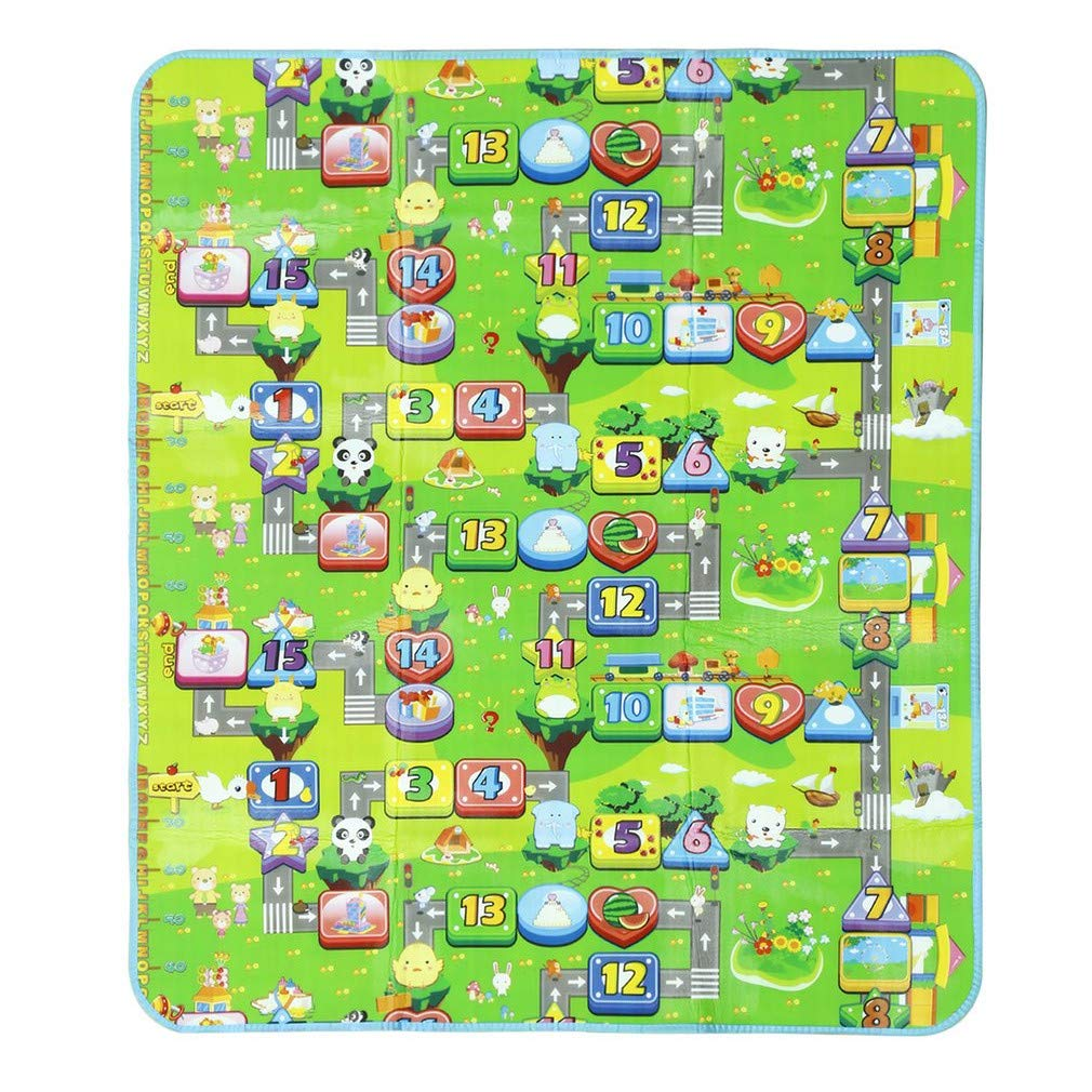kinshops Baby parte Alfombra niños alfombra alfombra infantil, 180x 200x 0.5cm dos lado para interior/exterior Alfabeto Números con bolsa