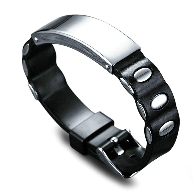 LexBu Men Bracelets Titanium Adjustable Length Silica Gel Silver