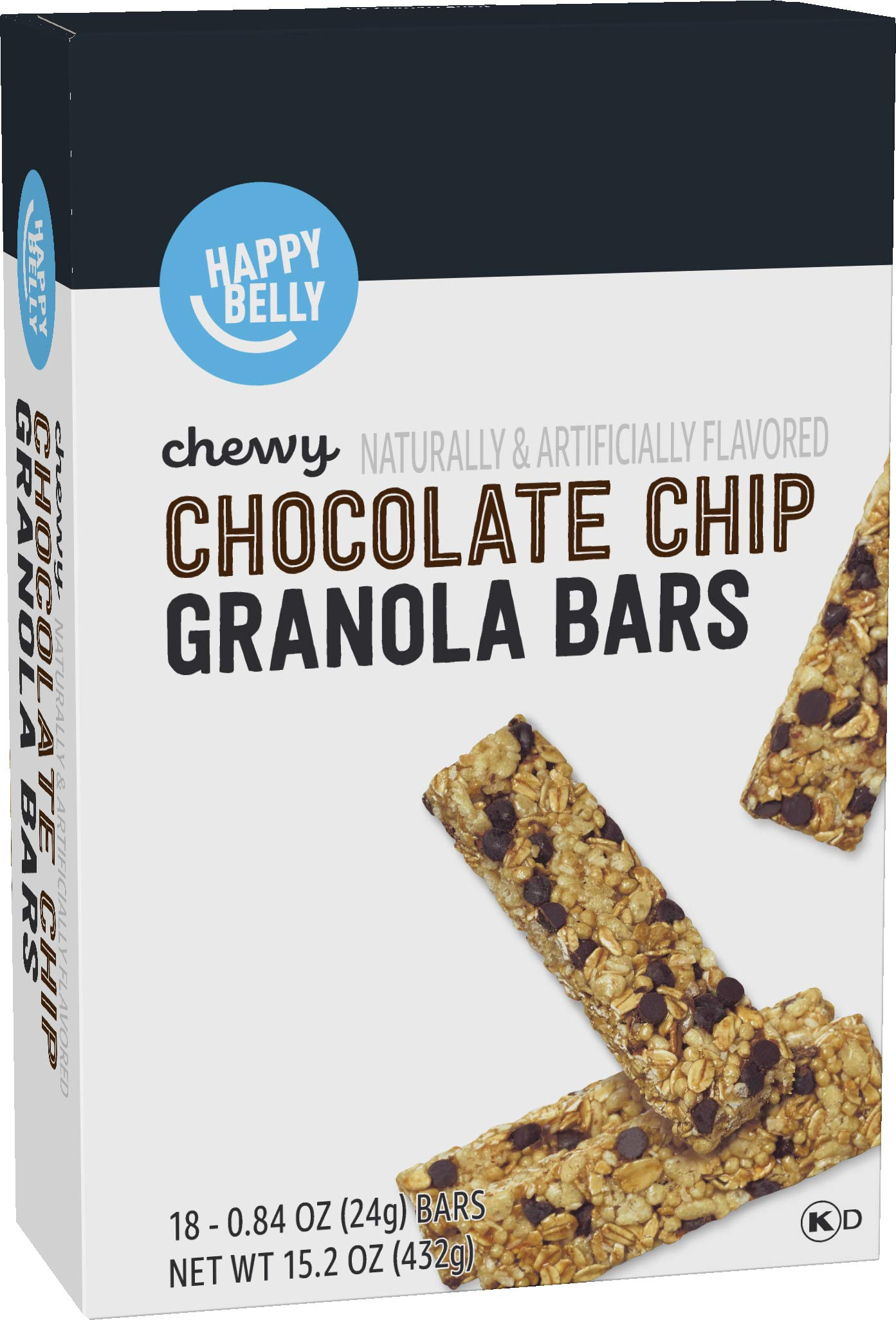 Amazon Brand - Happy Belly Chewy Chocolate Chip Granola Bars, 18 Count