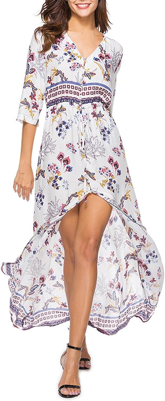 Auxo Vestido Largo Verano Mujer Impresi/ón Floral Vestidos Bohemios Sin Mangas Cuello V Vestido Playa Largo Tirantes
