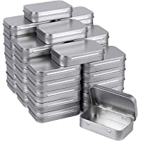 Tamicy Metal Rectangular Empty Hinged Tins - Pack of 40 Silver Mini Portable Box Containers Small Storage Kit & Home…
