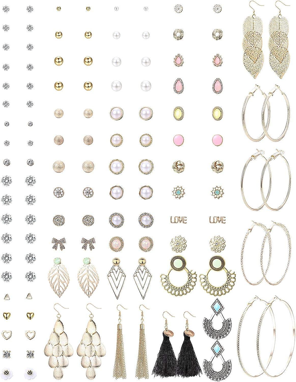 YADOCA 64 Pares Pendientes Studs Set para Mujer Niñas Grandes Pendientes de Aro Pendientes Bolas Circonita Perlas Pendientes Colgantes Borla Piercing Arete Antialérgicos