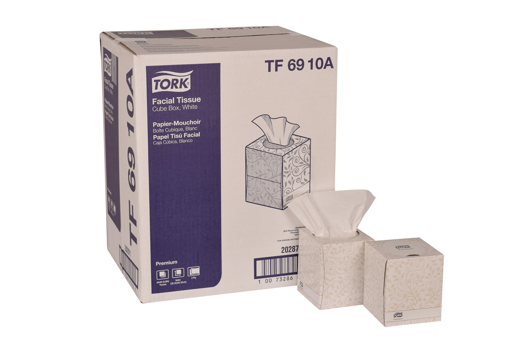 Tork Premium TF6910A Facial Tissue, Cube Box, 2-Ply, 8.0'' Width x 8.0'' Length, White (Case of 36 Boxes, 94 per Box, 3,384 Sheets)