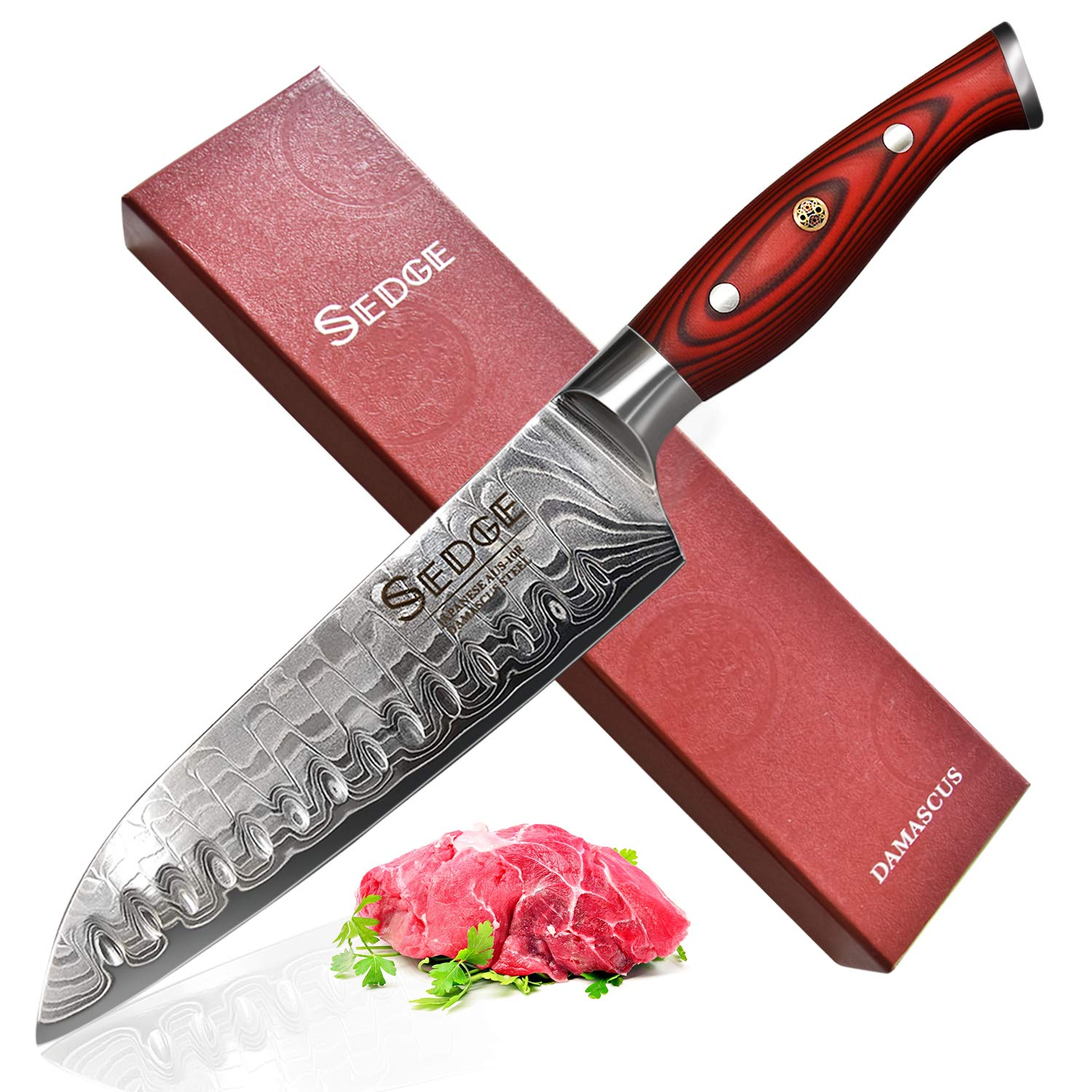 SEDGE Santoku Knife 7 Inch - Japanese Dragon Pattern Damascus AUS-10V High Carbon Steel - Ergonomic G10 Handle with with Exquisite Gift Box - SD-R Series
