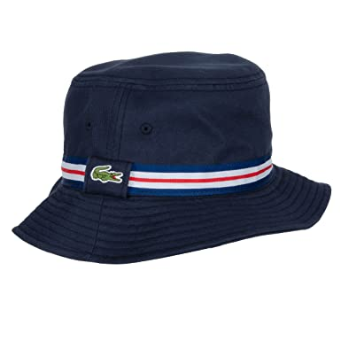 Lacoste 2016 Mens Tricolor Grosgrain Bucket Hat - Navy Blue-White ... d7fee8083c99