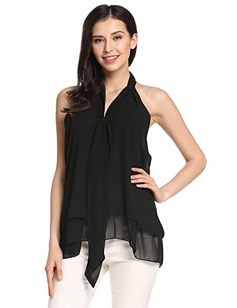fd0e2d65 Zeagoo Women Summer Sleeveless V Neck Casual Shirt Blouse Tops (Black M)