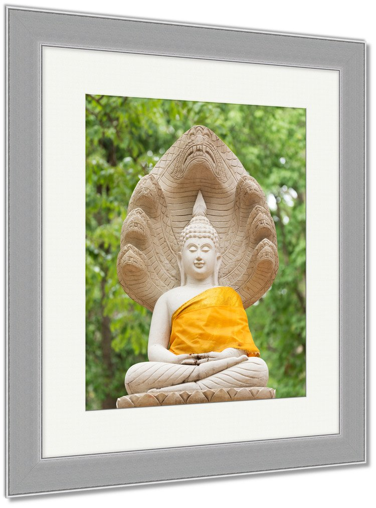 Ashley Framed Prints Buddha Statue In Wat Umong Chiang Mai Travel Thai Temple In Northern Thailand, Wall Art Home Decoration, Color, 40x34 (frame size), Silver Frame, AG5262487