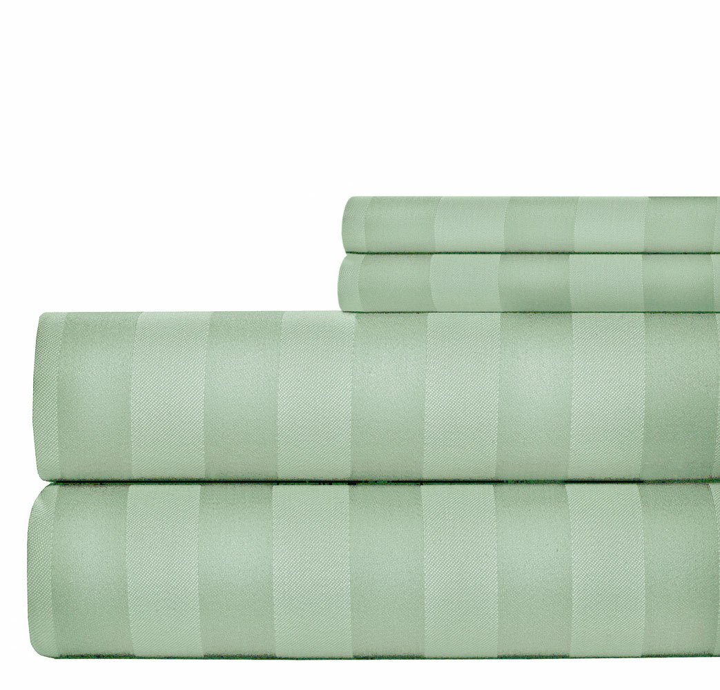 Sage by Weavely CVC-STR-4P-1000-KG-SGE 4 Pieces Set Dobby Bed Sheets Set - Cotton Rich 15 inch Fully Elasticized Deep Pocket Fitted Sheet King Aspire Linens 1000 Thread Count Damask Stripe Sheets