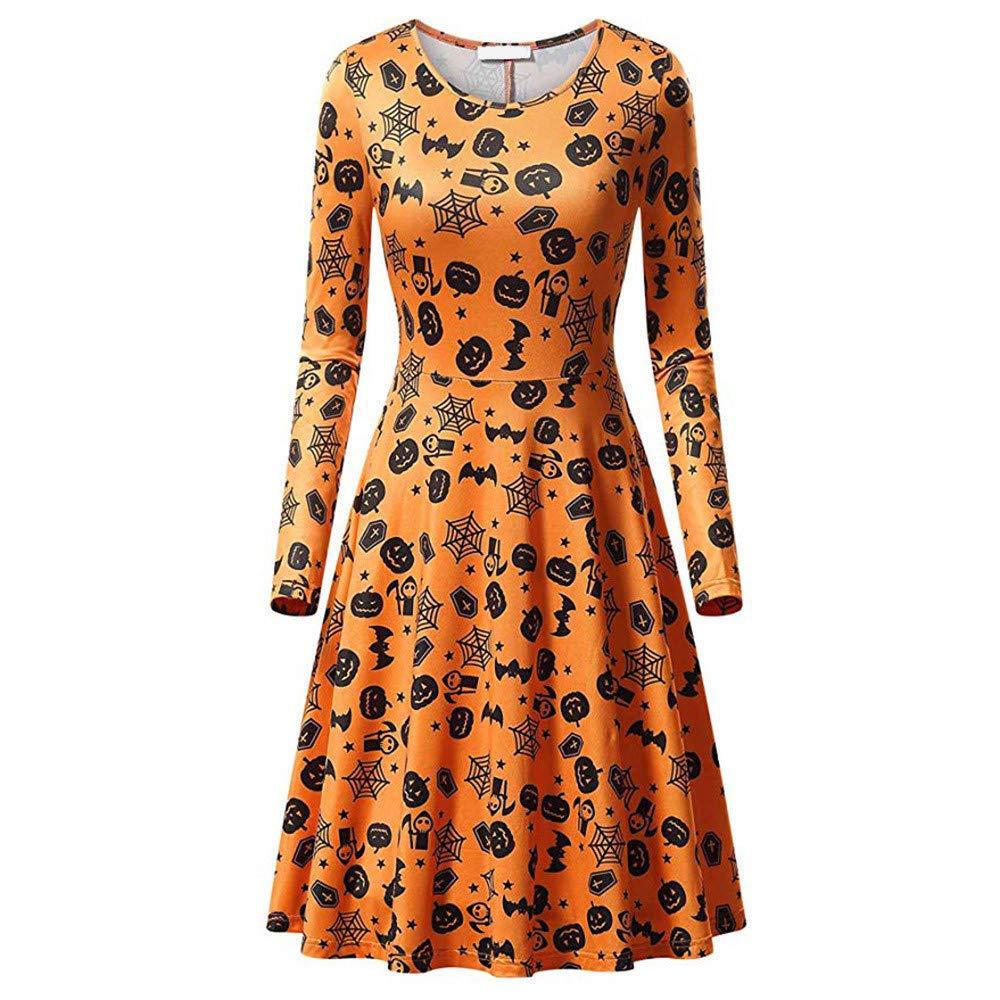 Womens Long Sleeves Casual A-line Halloween Pumpkin Dress Cocktail Dress (XL, A)