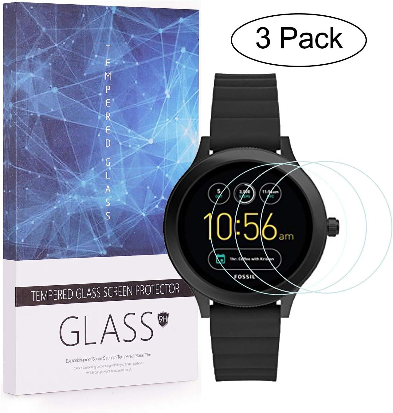 Paquete de 3 BECEMURU Fossil Q Venture HR Protector de Pantalla 9H Pantalla de Cobertura Completa Protector de Cristal Templado para Garmin Fossil Q Venture HR Smartwatch