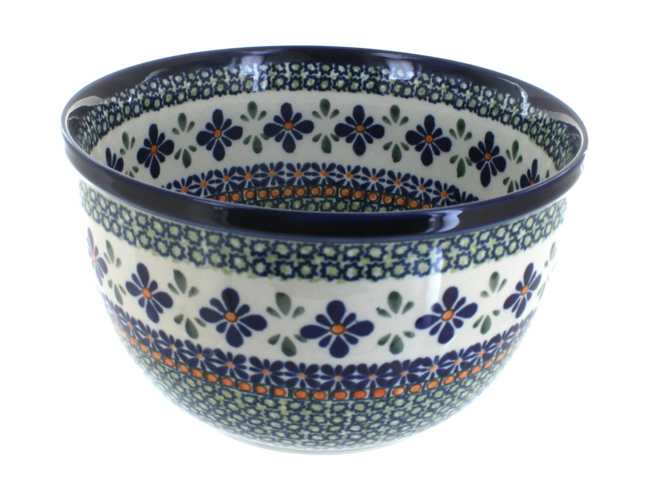Polish Pottery Mosaic Flower Medium Mixing Bowl