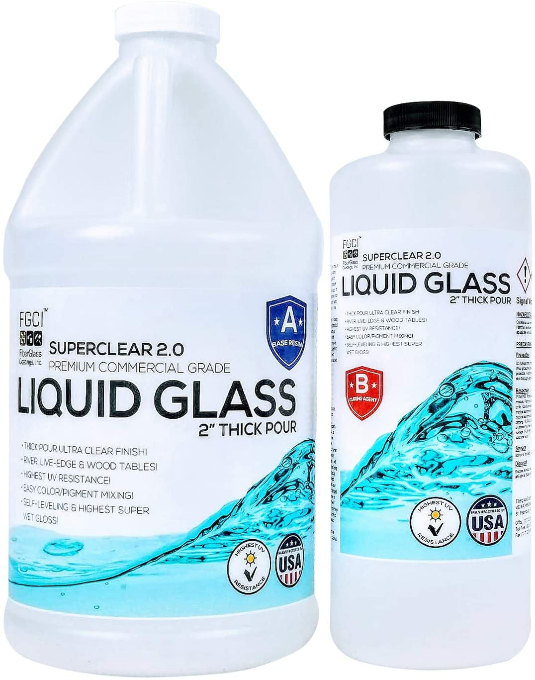 Epoxy Resin Crystal Clear Liquid Glass - Pour 2 to 4 Inches Plus at One Time for Live Edge and River Tables - ¾ Gallon Clear Epoxy Resin Kit