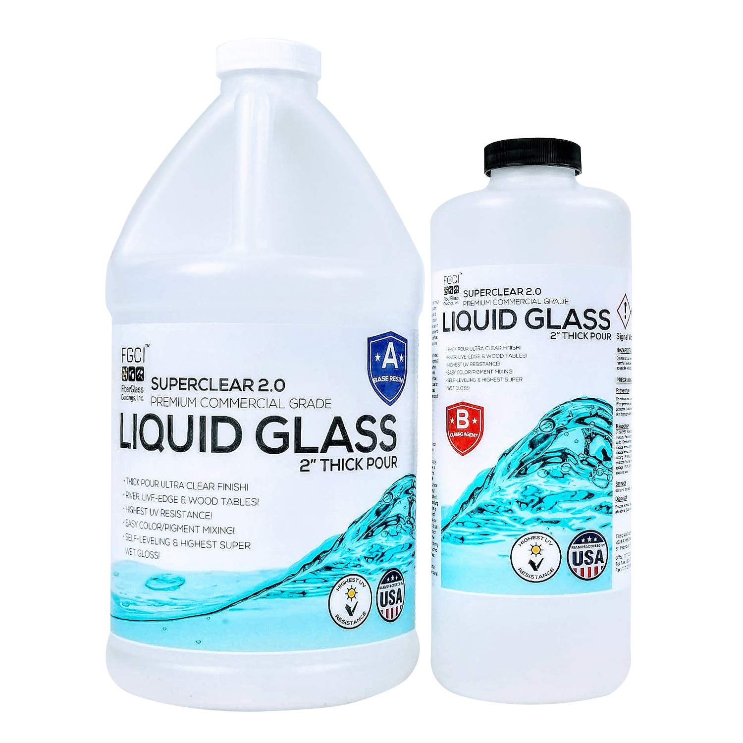 Epoxy Resin Crystal Clear Liquid Glass - Pour 2 Inches Plus at One Time for Live Edge and River Tables - ¾ Gallon Clear Epoxy Resin Kit