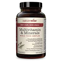 NatureWise Hair Skin and Nails Vitamins for Men — Whole Food Multivitamin for Men with AstaReal Astaxanthin, Biotin, Collagen, Keratin, Silica, & Antioxidants for Youthful Skin & Healthy Hair | 60 Ct