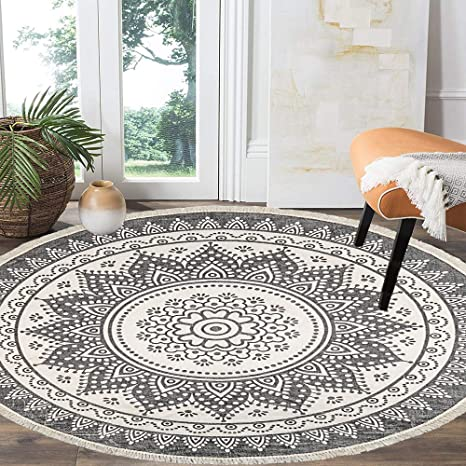Amazon Com Hebe 4 Ft Cotton Rugs Round Washable Chic Bohemian Mandala Hand Woven Round Rugs With Tassels Indoor Throw Area Rug For Living Room Kids Room Kitchen Dining