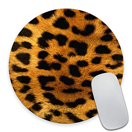 Smooffly Leopard Print Round Mouse Pad Animal Print Desk Accessories Circular Mouse Pad Cute Mouse Pad Cute Office Decor Office Desk Decor