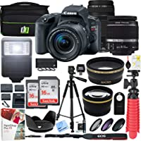 Canon EOS Rebel SL2 24MP SLR Digital Camera w/EF-S 18-55mm is STM Lens Black and EF 75-300mm f/4-5.6 III Lens and 2X 16GB Memory Card Plus Triple Battery Accessory Bundle