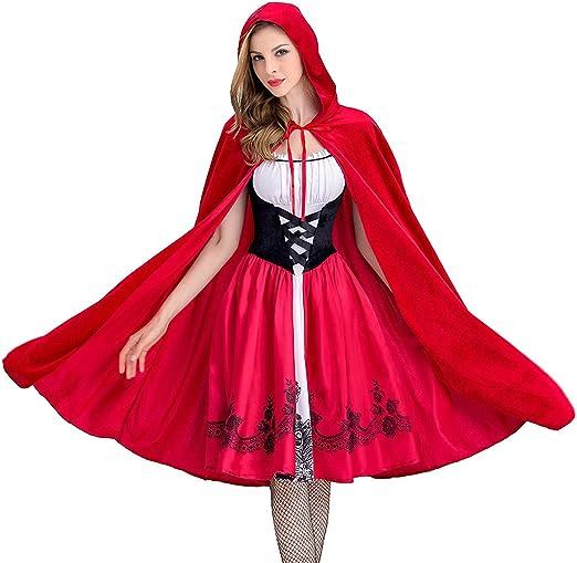 Xyfw Disfraz De Mujer Sexy Caperucita Roja Vestido con Capucha ...