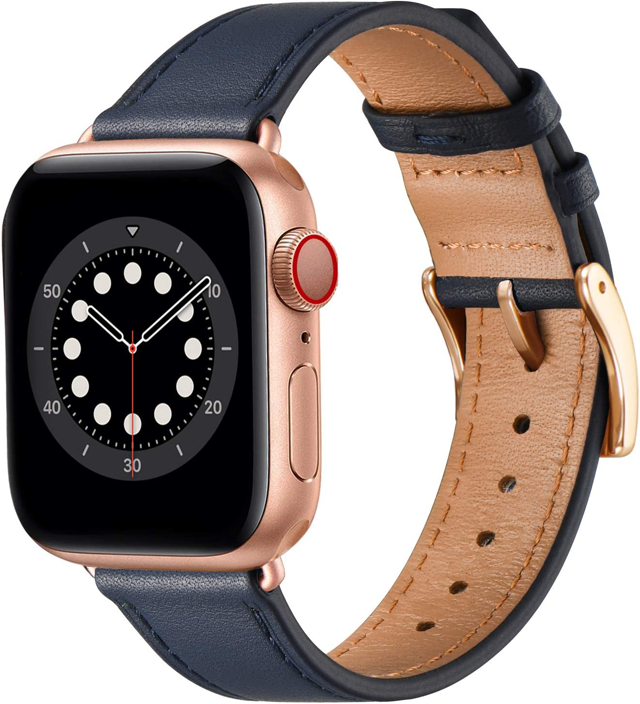 BesBand Compatible with Apple Watch Bands 44mm 42mm 40mm 38mm, Genuine Leather Business Replacement Bands Loop Men Women for iWatch SE & Series 6/5/4/3/2/1(Navy Blue/Rose Gold,42mm/44mm)