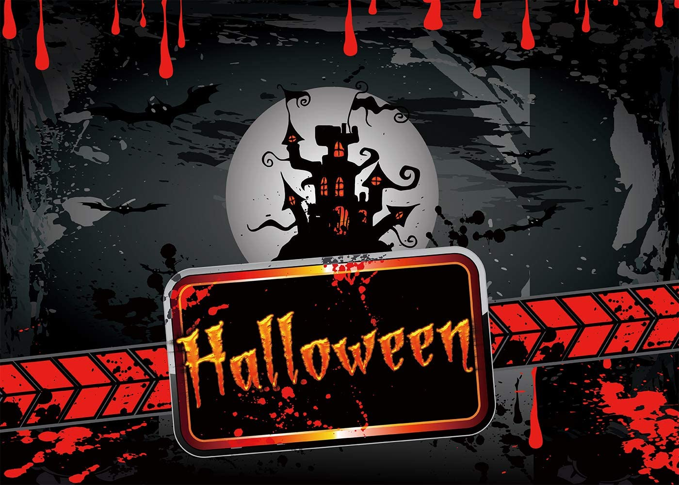 FUERMOR Background 7x5ft Horrible Halloween Banner View Photography Backdrop Children Party Cosplay Photo Shooting Props WQFU019