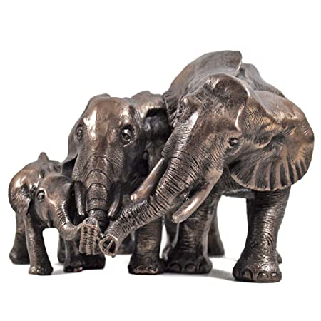 family of three african elephant bronze statue perfect gift idea for