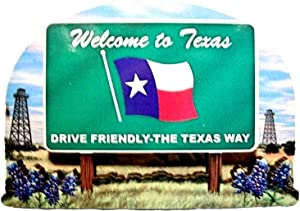 Texas State Welcome Sign Wood Fridge Magnet