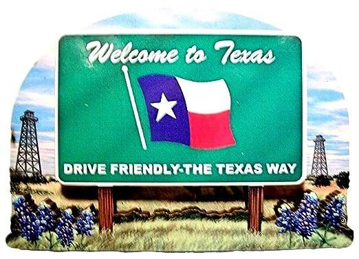 Estado de Texas con texto en inglés de madera imán para nevera 2 ...