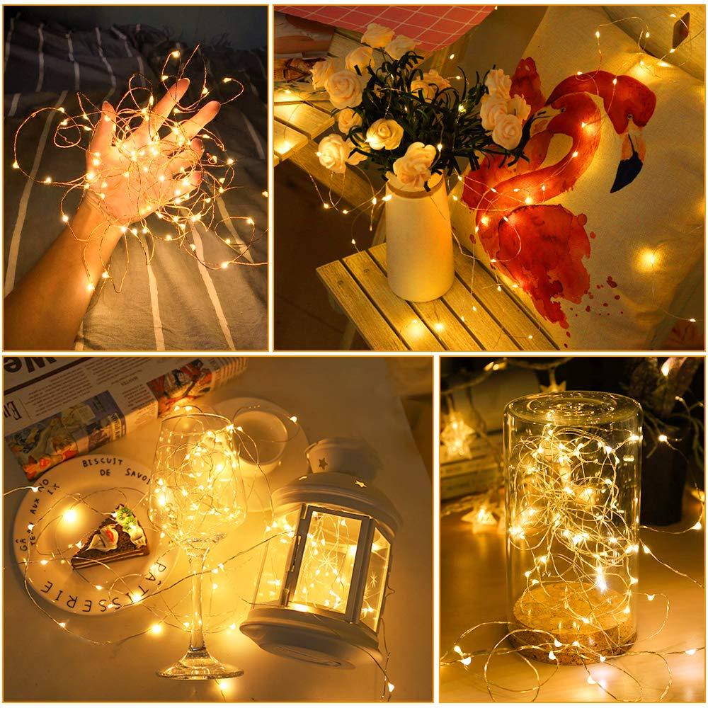 Au/ßen Innen Nasharia 2 St/ück 10M 100LED USB Lichterkette Draht Wasserdicht mit Schalter Hochzeit Party Weihnachten Kupferdraht Stimmungs Lichterkette f/ür Zimmer DIY usw. Led Lichterkette