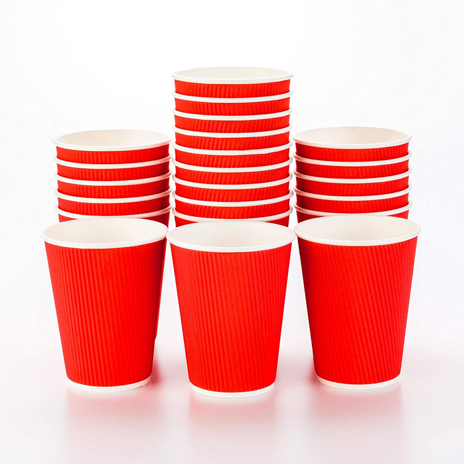 500-CT Disposable Red 12-OZ Hot Beverage Cups with Ripple Wall Design: No Need for Sleeves - Perfect for Cafes - Eco-Friendly Recyclable Paper - Insulated - Wholesale Takeout Coffee Cup