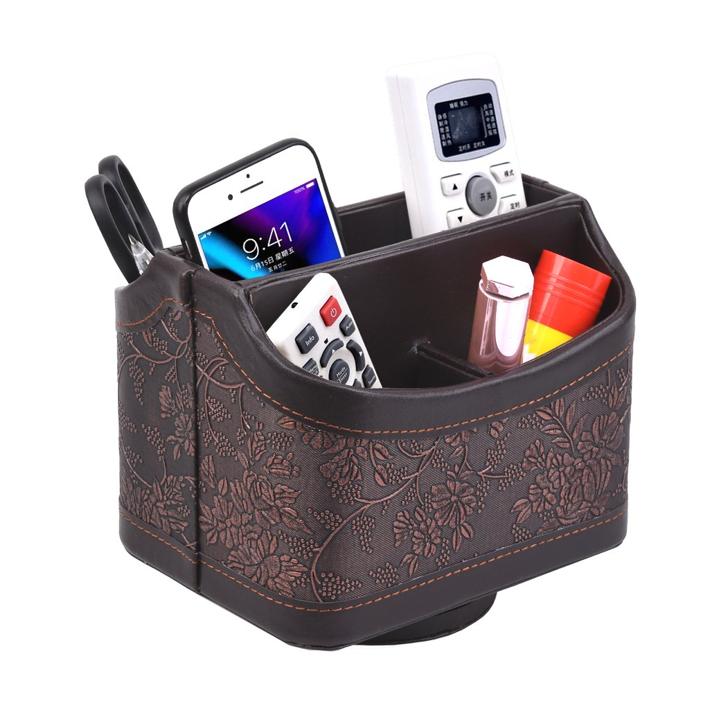 CHIDRA PU Leather 360 Degrees Rotatable Media Storage Container/Organizer for Remote Control Phone Pen Eyeglasses,Makeup Stationery Holder/Caddy(Retro Flower)