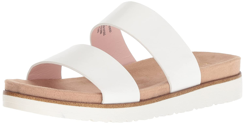 kensie Women's Dominic Slide Sandal B078213MJF 7 M US|White