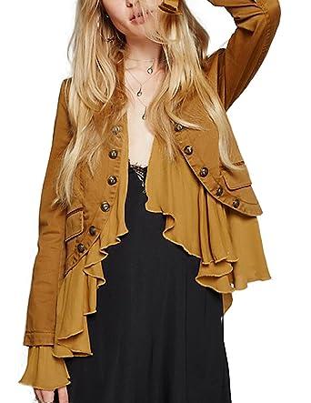 ASMAX HaoDuoYi Women Vintage Ruffle Lightweight Open Front Coat Cardigan Jacket