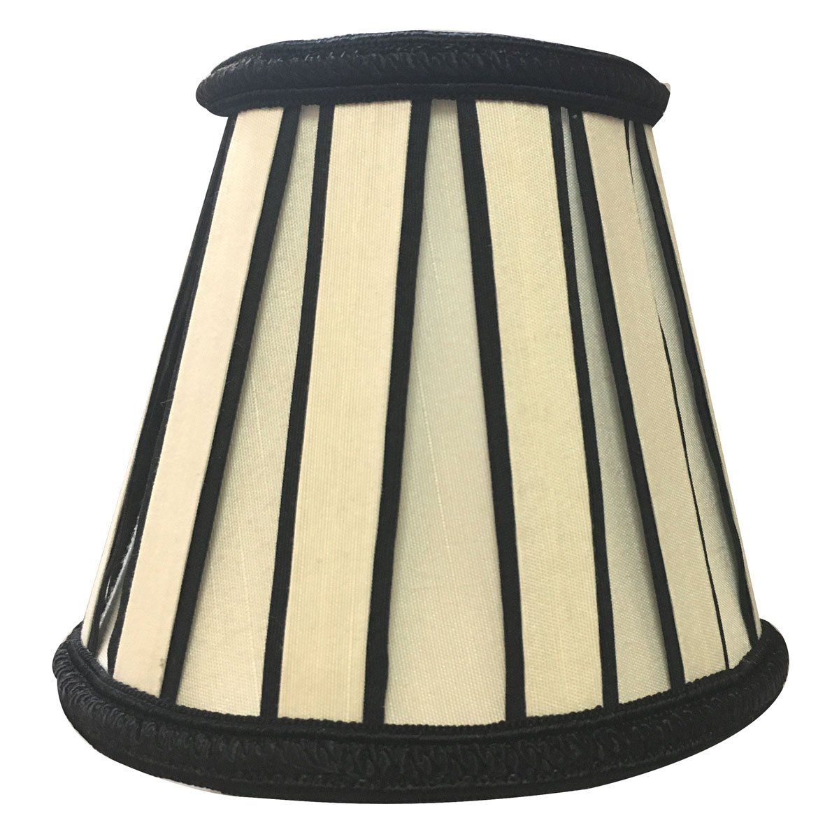 Royal Designs English Pleated Chandelier Lamp Shade - 3 x 5 x 4.5 - Eggshell and Black by Royal Designs, Inc