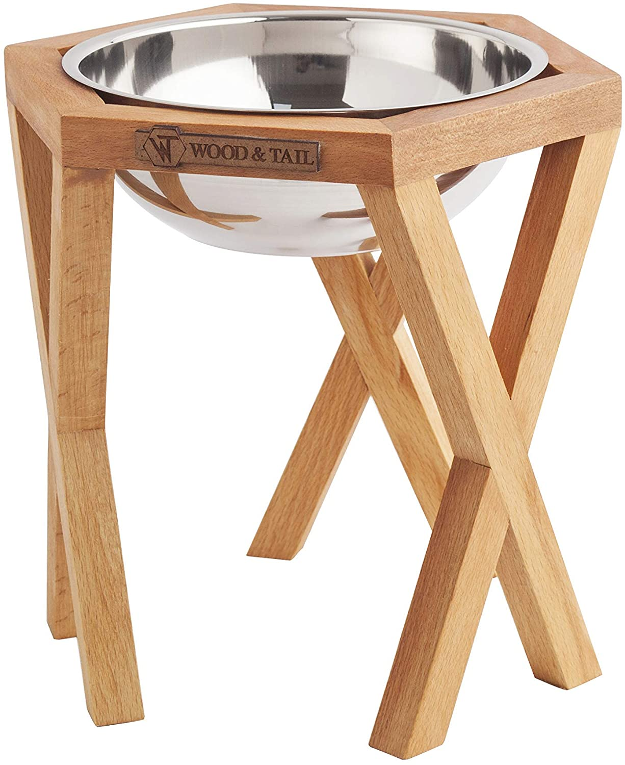 Dog Food Bowls Elevated Dog and Cat Stand,Elevated Dog and Cat Handmade Solid Wood Feeder, Raised Food and Water Stand with 2 Stainless Steel