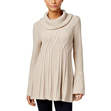 Amazon.com: Style & Co. Womens Cable Knit Cowl Neck Tunic Sweater ...