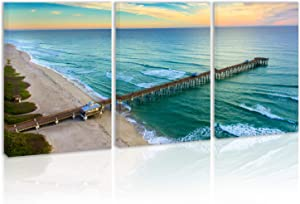 Tropical Sunset Seascape Waves Wall Art Decor Pier Beach Canvas Painting Kitchen Prints Pictures for Home Living Dining Room