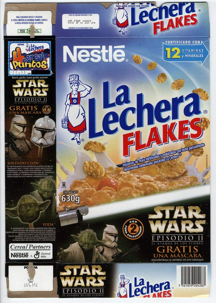 La Lechera Flakes Star Wars AOTC Yoda Mask Empty Cereal Box Mexican 630g ADLC at Amazons Entertainment Collectibles Store