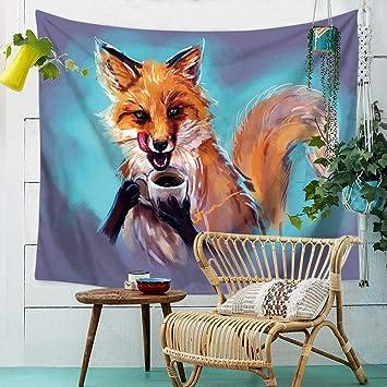 GXYGWJ Tapicería, colgando de tela manta sentada, gato y perro, pintura animal Tapicería