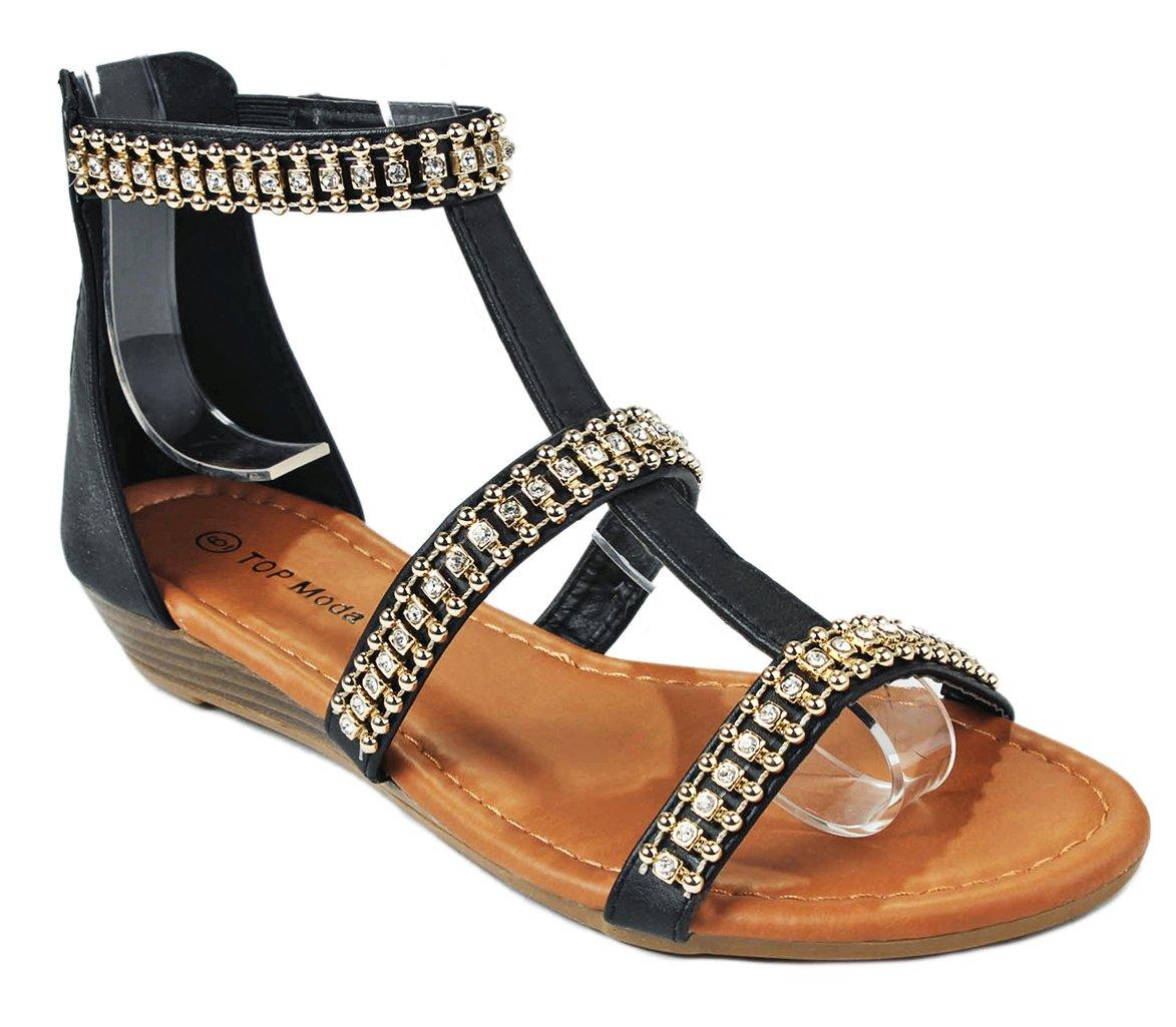 Women Beaded Rhinestone Leatherette T-Strap Gladiator Roman Wedge Dress Sandals B01DN3IGBU 9 B(M) US|Black_avery-3