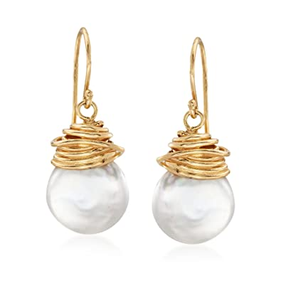 d63025347 Image Unavailable. Image not available for. Color: Ross-Simons 12-13mm  Cultured Coin Pearl Drop Earrings in 18kt Yellow Gold Over