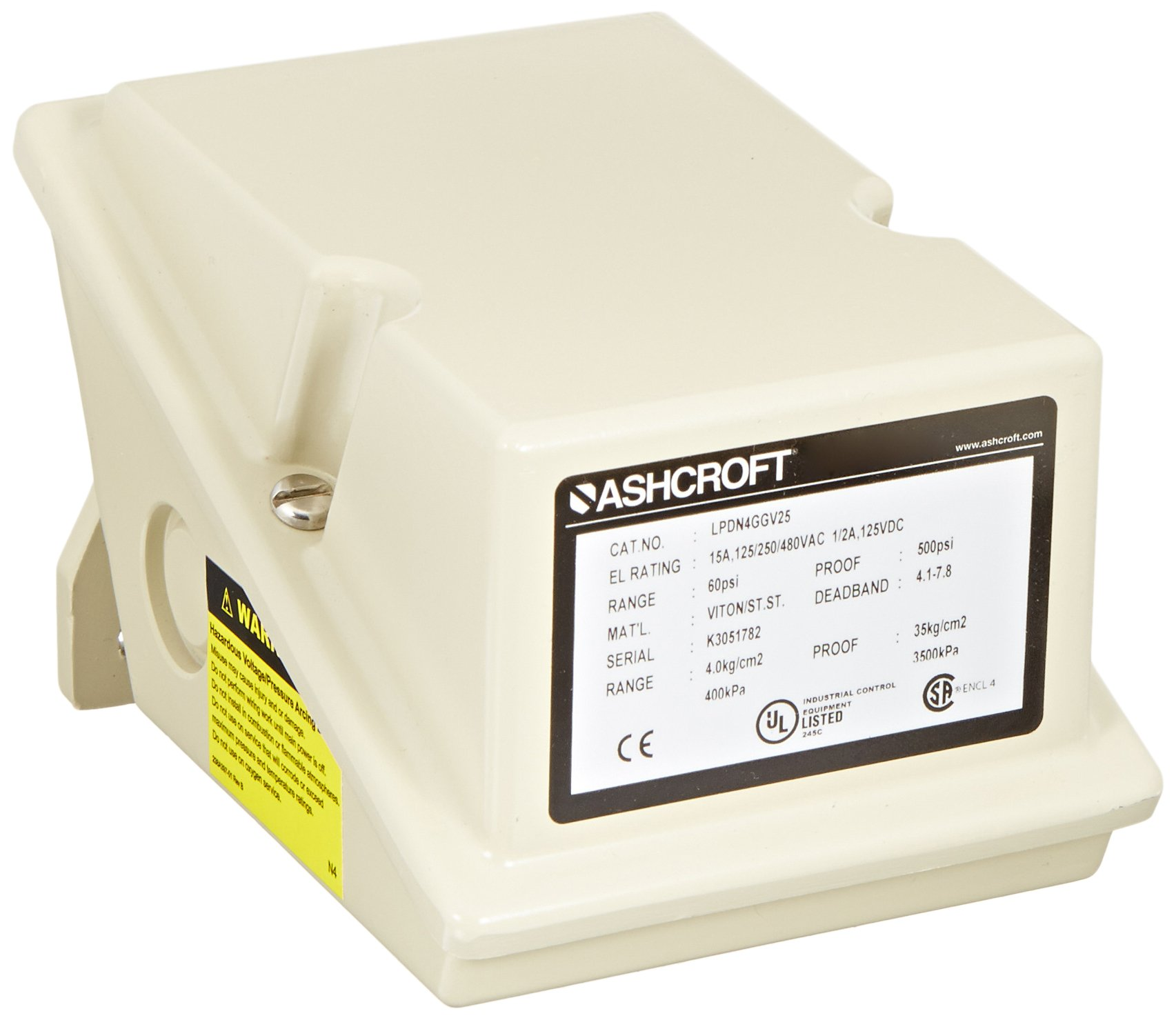 Ashcroft Series L Epoxy Coated Die Cast Aluminum Industrial Pressure Control Switch with SPDT Contact Form, Adjustable Deadband, 1/4'' NPT Female Connection, Viton Actuator Seal, 6/60 psi Range