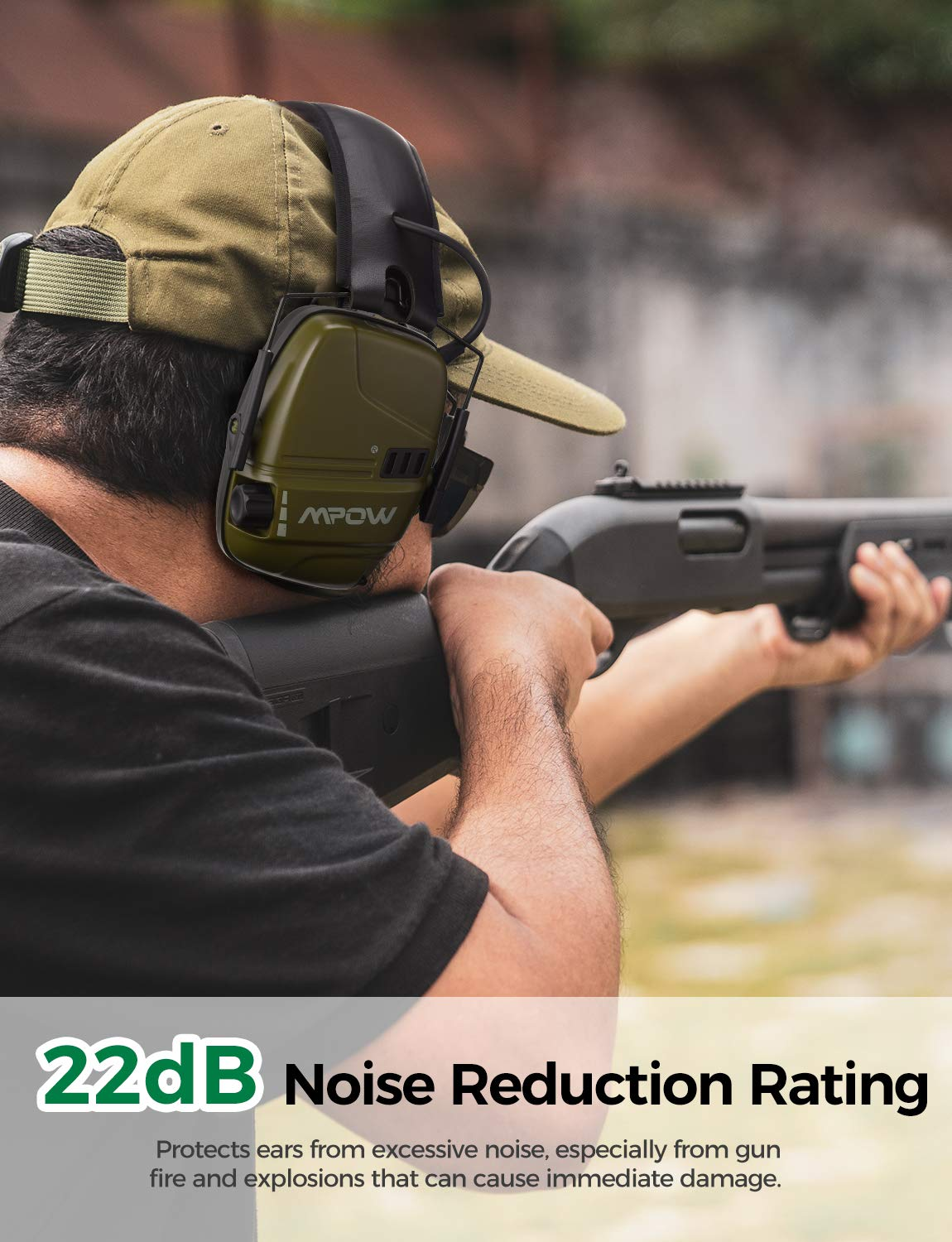 Mpow 094 Electronic Shooting Ear Muffs, Rechargeable SNR 26dB Active Noise Reduction Muffs, Stereo Sound Amplification with Dual Mic, Ear Protection for Shooting Hunting Season, Mowing, Woodworking by Mpow (Image #3)