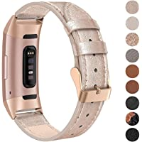 SWEES Leather Bands Compatible for Fitbit Charge 4, Charge 3 & Charge 3 SE Fitness Tracker, Genuine Leather Band Strap…