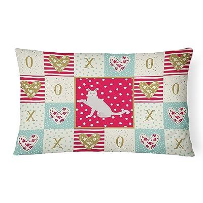 Caroline's Treasures CK5766PW1216 Khao Manee Cat Love Canvas Fabric Decorative Pillow, 12H x16W, Multicolor : Garden & Outdoor