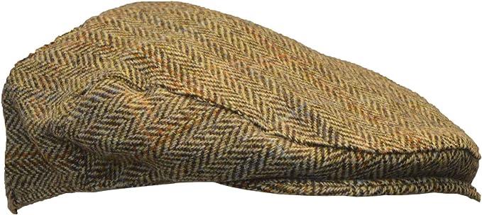 Walker & Hawkes Cappellino piatto Derby Harris in tweed a spina di pesce, colore: Bianco sabbia, S XL