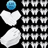 120 Pieces Cotton Gloves Large Size for Men Women Dry Hand Art Handling Coin Jewelry Inspection (White, L)